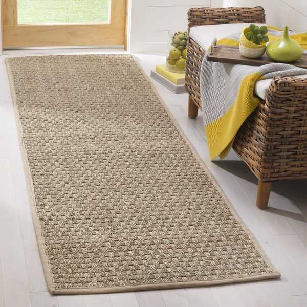 Safavieh Casual Natural Fiber Beige Border Seagrass Runner - 2'6' x 8'