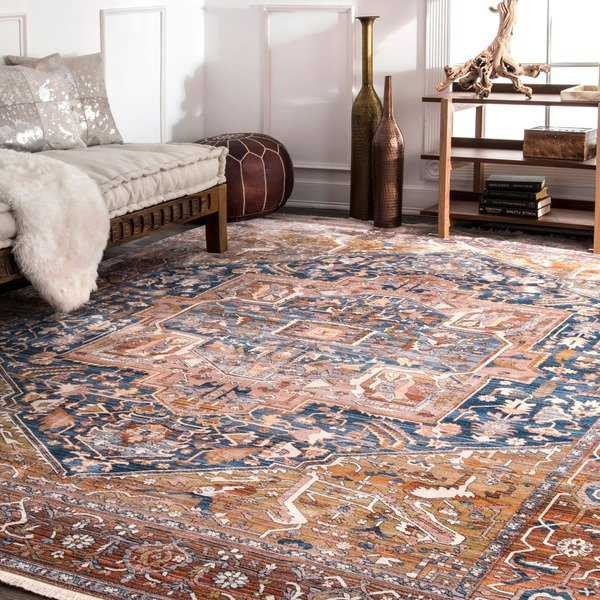 Gracewood Hollow Lapointe Medallion Border Rust Rug - 5' x 7'9'