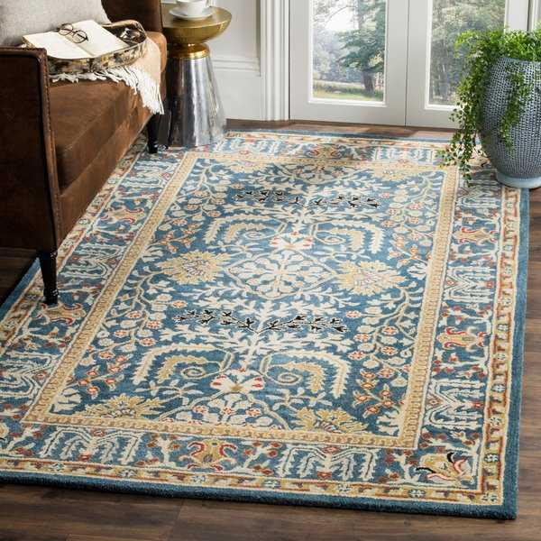 Safavieh Antiquity Traditional Handmade Dark Blue/ Multi Wool Rug - 8' x 10'