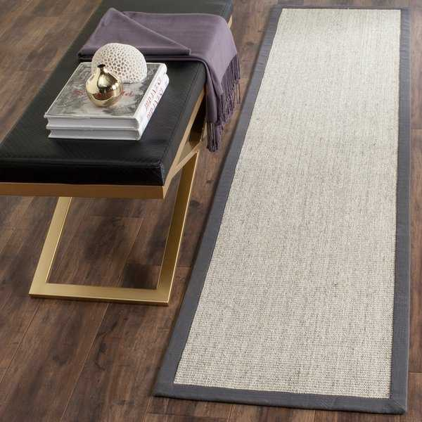 Safavieh Casual Natural Fiber Hand-Woven Serenity Marble / Grey Sisal Rug - 2'6' x 10'