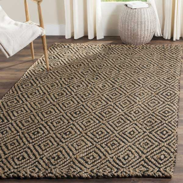 Safavieh Handmade Natural Fiber Diamond Geo Natural/ Black Jute Rug - 3' x 5'