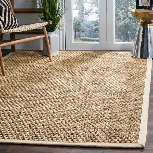 Safavieh Casual Natural Fiber Natural and Ivory Border Seagrass Rug - 11' x 15'