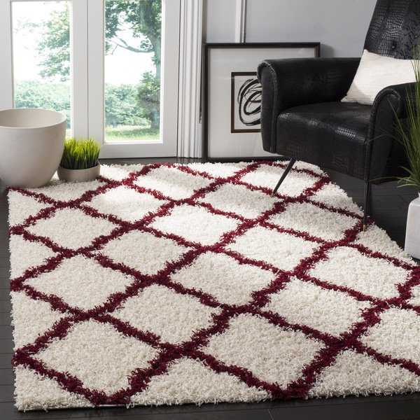 Safavieh Dallas Trellis Ivory / Red Shag Rug - 3' x 5'